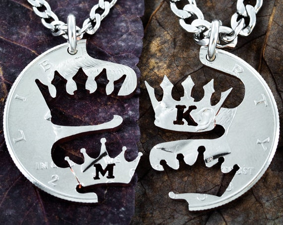 Crown Necklaces, Custom Initials, Gifts for Best Friends or Couples, Personalized Couples Jewelry, BFF Gifts, Hand Cut Coin
