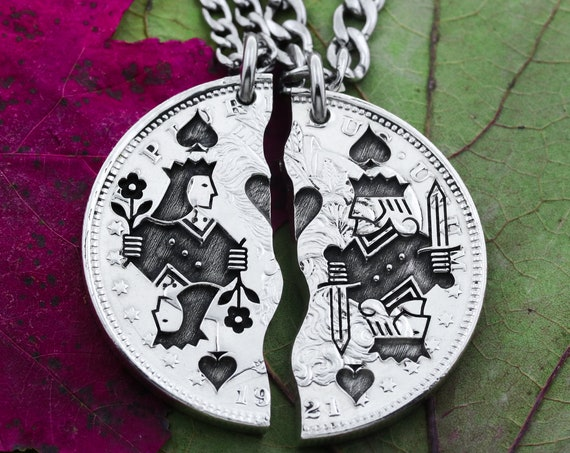 Playing Card Necklaces, King and Queen, Couples Gifts, Best Friends Jewelry, King and Queen of Spades, Hand Cut Coin