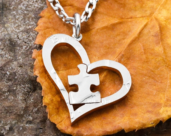 Puzzle Piece Inside Heart Necklace, Heart Jewelry, Children Jewelry, Hand Cut Coin