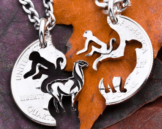 Monkey and Llama Best Friends Jewelry, Relationship Interlocking Necklaces, BFF Gifts, Made from a Hand Cut Coin