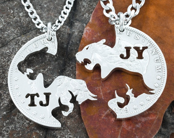 Charging Bull and Lioness Necklaces, Best Friends or couples Jewelry, BFF Gift for 2, Interlocking pieces, Hand Cut Coin