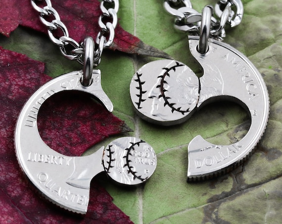 Baseball and Softball Couples and Best Friends Necklaces, Ballplayer gift, Boyfriend and Girlfriend Jewelry, BFF and Friendship