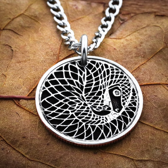 Pangolin Necklace, curly tailed pangolins, pangolin conservation, Hand cut coin