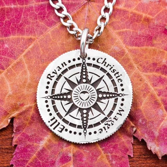 Personalized Compass Necklace, 4 Best Friends, Engraved Real Silver Coin, Custom Names and Initial