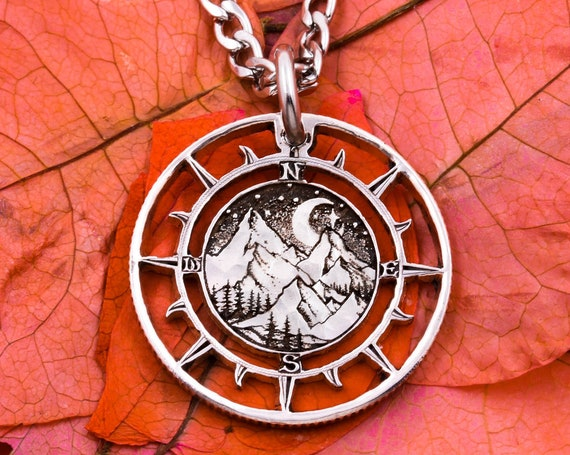 Mountain Hikers Compass Necklace, Etched Artistic Nature Design, Moon and Stars, Nautical Outdoor Jewelry, Hand Cut Silver Coin