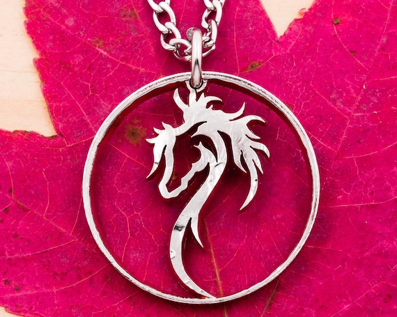 Dainty Horse Head Necklace, Equestrian Western Horse Lovers Pendant, Women's and Girl's Jewelry, Rimmed Hand Cut Coin