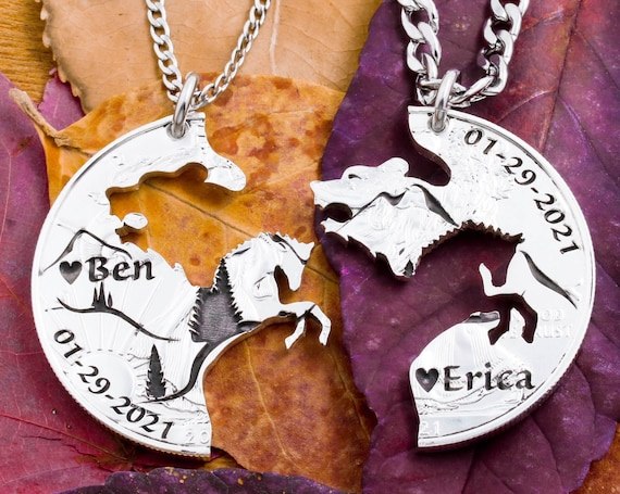 Bear and Horse Necklaces with Engraved Names, Dates and Hearts, Mountain Nature Jewelry, Best Friend Gifts, Interlocking Hand Cut Coin
