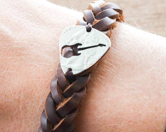 Guitar Pick Leather Bracelet, Woven and Braided Bracelets, Guitar Gift for Men and Women, Cut Coin Sewn onto a Leather Bracelet