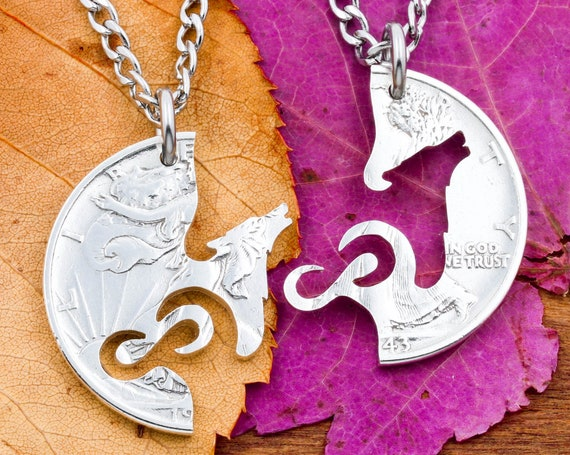Wolf and Infinity Symbol Necklaces, Couples Jewelry or Best Friend Gifts, Interlocking Sets, Hand Cut Coin