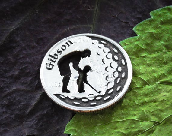Father and Son, Custom Name Golf Ball Marker, Name Engraved, Etched Quarter, Unique Gold Dad Gift