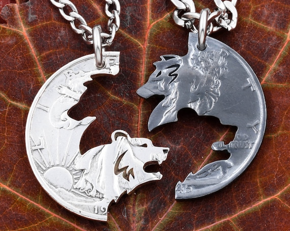 Oxidized Silver Wolf and Grizzly Bear Necklaces, Gun Metal, Interlocking Jewelry, Light or Dark, Best Friends or Couples Gift, Hand Cut Coin