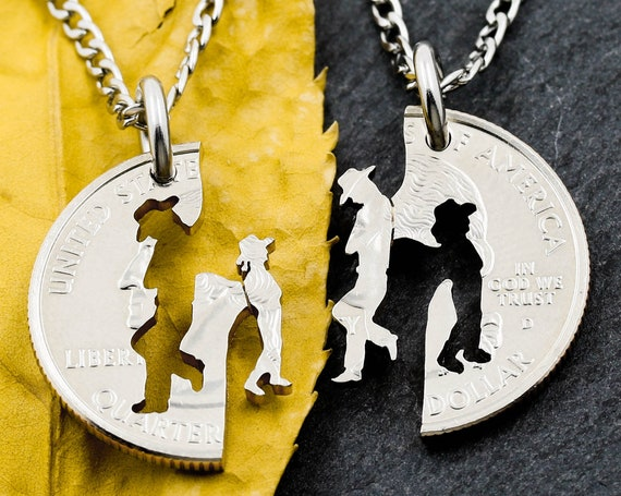 Cowboy Father and Cow girl Daughter Necklaces, Western Family Jewelry, Hand Cut Coin