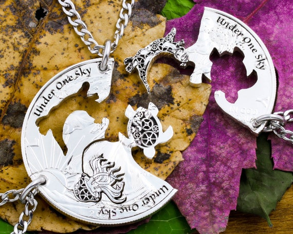 3 Piece Steampunk Animal Necklaces, Otter, Jellyfish, Turtle, Custom Engraved Gears and Wording, BFF Jewelry, Interlocking Hand Cut Coin