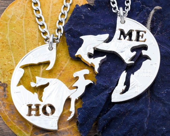 Shark Necklaces with Custom Cut Initials, Hammerhead and Great White Shark, BFF Gifts, Interlocking Animal Jewelry, Hand Cut Coin