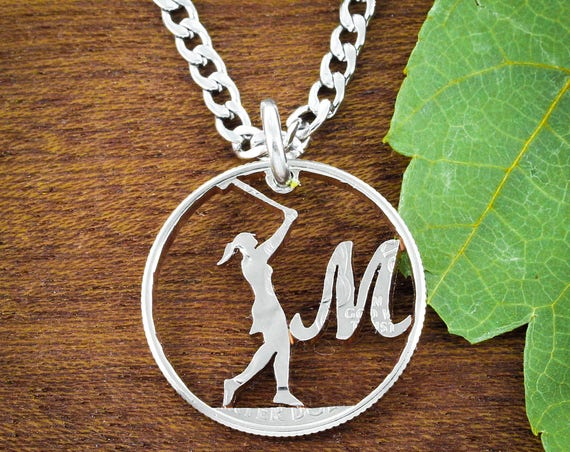 Golf Custom Initial Necklace, Woman Golfer Gift, Man or Woman Silhouette, Dad Gift, Custom, Hand Cut Coin