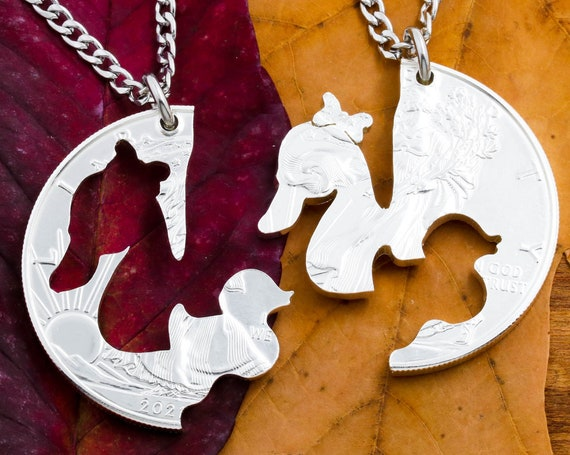 Mother Duck Baby Duckling Necklaces, Mom Split Jewelry, Cut from a Coin
