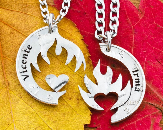 Heart on Fire, Couples Necklaces with Engraved Names, Boyfriend Girlfriend Gift, Fiery Love and Relationship Jewelry, Anniversary or Wedding