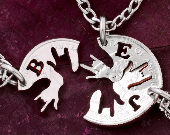 3 Best Friend ASL Necklaces with Custom Initials, 3 BFF Gifts or Family Jewelry, ASL I Love You Hands, Hand Cut Coin