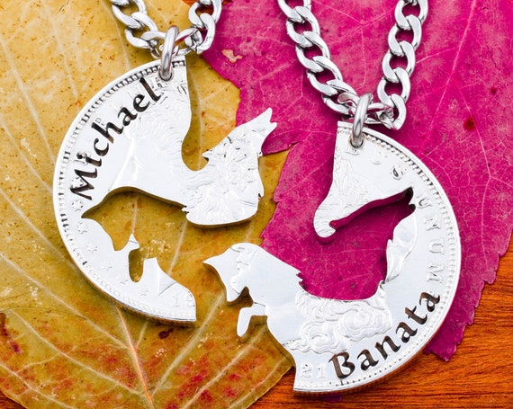 Wolf and Fox Necklaces with Custom Engraved Names, BFF or Couples Gifts, Interlocking Animal Jewelry, Hand Cut Coin
