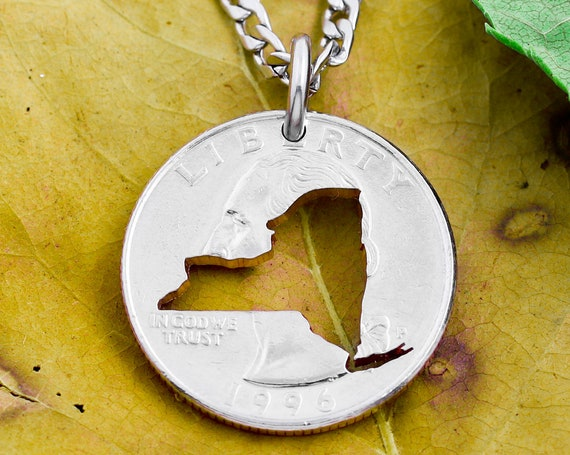 New York State Necklace, Silver Quarter With Custom State Cut Out, Hand Cut Coin