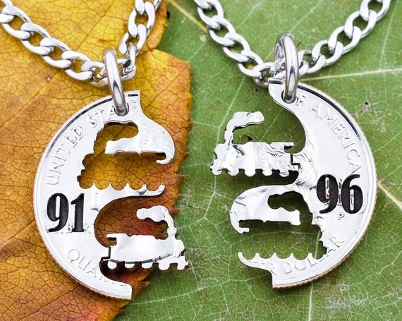 Steam Engine Trains with Custom Engraved Numbers, Interlocking Train Necklace, BFF Gifts, Kids Jewelry, Hand Cut Coin