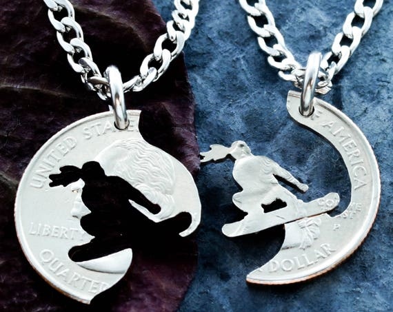 Snowboard Necklace for Girls, Best Friends Forever Necklaces, BFF Gifts for 2, Snowboarding Jewelry, Relationship and Friendship, Cut Coin