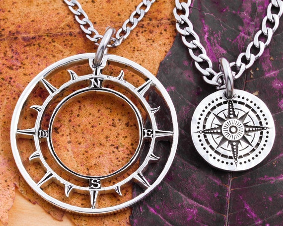 Small and Large Compass Necklaces, Engraved Silver, Best Friends Forever, BFF Gifts, Travel Jewelry, Inside Outside Pieces, Hand Cut Coin