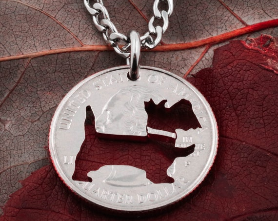 Scottie Dog Necklace, Dog memorial Jewelry, Pet Loss, Scottish terrier, Dog mom, hand cut coin