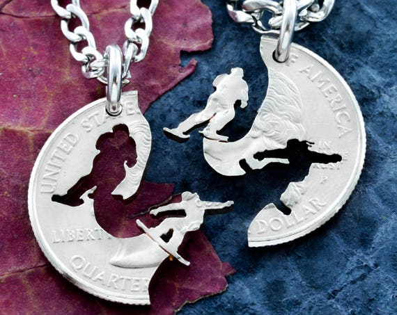 Skiing and Snowboarding Couples Necklaces, BFF, Ski Snowboard Jewelry, Relationship and Best Friends, His and her, Friendship, Hand Cut Coin