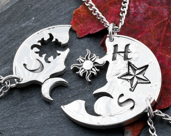 3 Astronomy Necklaces with Engraved Initials, Sun, Moon and Star, Best Friends and Family Jewelry, Interlocking Hand Cut Coin