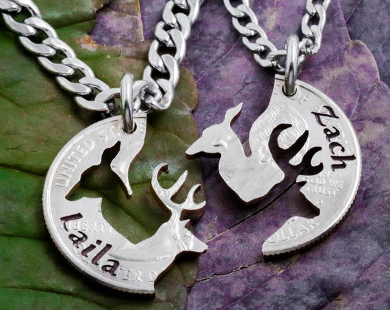 Buck and Doe Couples Necklace with Custom Engraved Names, Hand Cut Coin