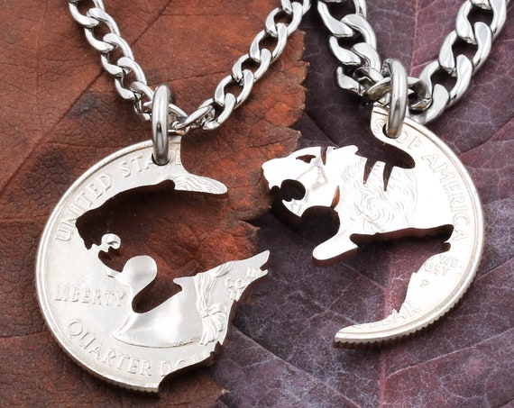 Tiger and Wolf Couples Necklaces, Howling Wolf Gift, Tiger and Wolf, Best Friends or Couples Jewelry, BFF Gift, Hand Cut Coin