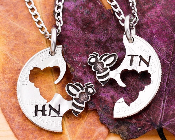 Bee Necklaces with Custom Engraved Initials, BFF Gifts, Bumble Bee Jewelry, Friendship and Relationship Gift, Insect Jewelry, Hand Cut Coin
