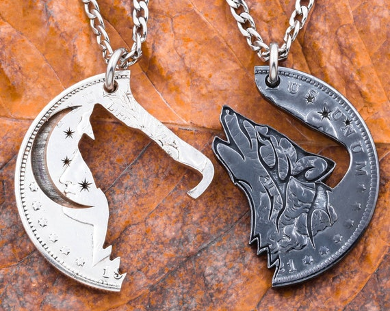 Howling at the Moon Wolf Necklaces, Oxidized Silver, Dark and Light Interlocking, Patina, Gun Metal Effect, BFF Couples Gifts, Hand Cut Coin