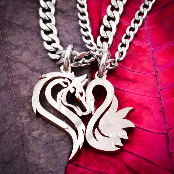 Wolf and Swan Couples Necklaces, Making a Heart, Relationship Jewelry, Couples Gifts, Half Dollar, hand cut coin