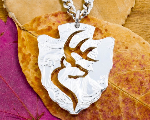 New Arrowhead Necklace with Buck Deer Cut Inside, Antlers, Hunting Jewelry, Hand Cut Silver Eagle Coin