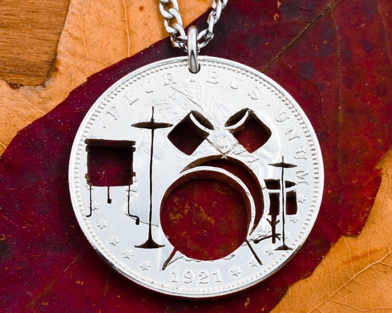 Drum Set Necklace, Bass and Snare Drum, Hi-Hat, Crash Cymbal, Floor Tom, Rock Band Jewelry, Musician and Drummer Gift, Hand Cut Coin