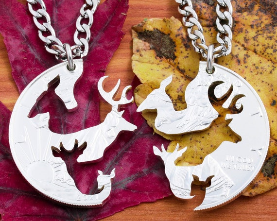 Buck and Doe Couples Necklaces with Fawn and Spike Deer, Family Gifts, Interlocking Hand Cut Coin