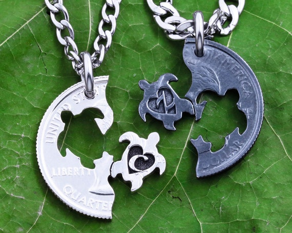 Interlocking Oxidized Silver Turtles Necklaces, Custom Engraved Initials, Gun Metal, Islander Best Friends or Couples Gift, Hand Cut Coin