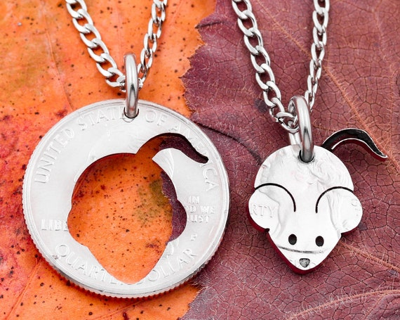 Mouse and Little Girl Silhouette Necklaces, German Mouse, Custom Engraved Names, Kids Jewelry, Inside Outside Pieces, Hand Cut Coin