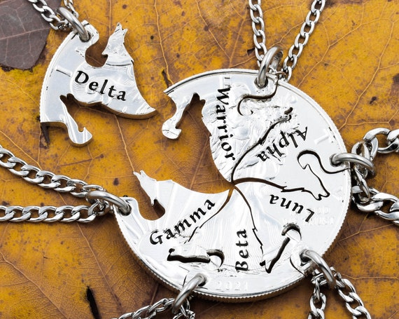 6 Piece Howling Wolves Necklaces, Custom Engraved Names, Family or Best Friends Jewelry Gifts, Real Silver Hand Cut Coin