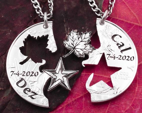 Interlocking Maple Leaf and Star Necklaces Necklaces, Custom Engraved Names and Dates, Couples or Best Friends Gift, Hand Cut Coin