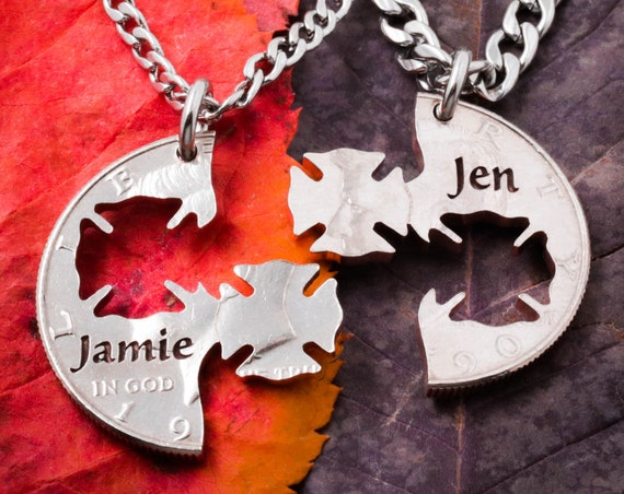 Firemen gifts, His and Her Firefighter Necklaces, Custom Names engraved, Firefighter Wedding, Interlocking Cut Coin