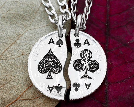 Ace of Spades and Ace of Clubs Split Necklaces, Best Friends, BFF Jewelry, Couples Gifts, Playing Cards, Aces Sketch Design, Hand Cut Coin