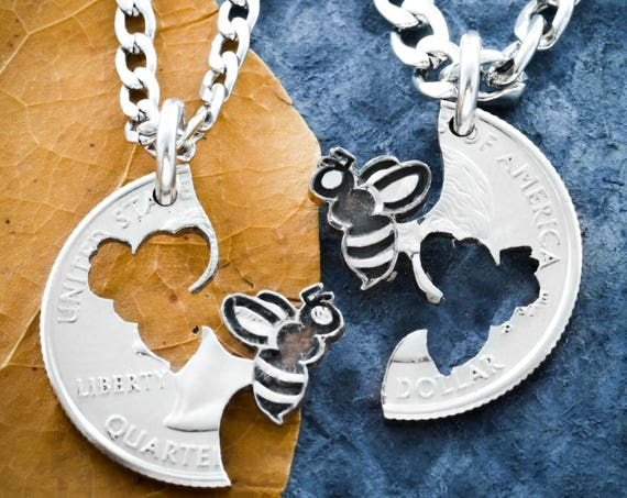 Bee Best Friends Necklaces, Bumble Bee Jewelry, Bff Gifts, Friendship and Relationship Gift, Long Distance, Hand Cut Coin by Namecoins