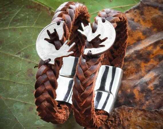 Best Friend Bracelets, ASL I Love You, Relationship Jewelry, Hand Sewn on Leather Bracelets, Couples Bracelets, BFF Woven Bracelet