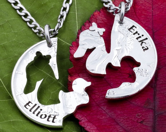 Mama Duck and Baby Duckling Necklaces, Custom Engraved Names, Family Split Jewelry, Hand Cut Coin