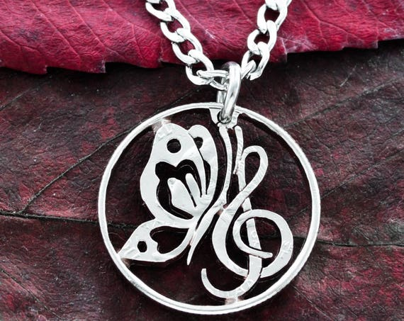 Butterfly and Treble Clef Necklace, Music Jewelry, Hand Cut Coin