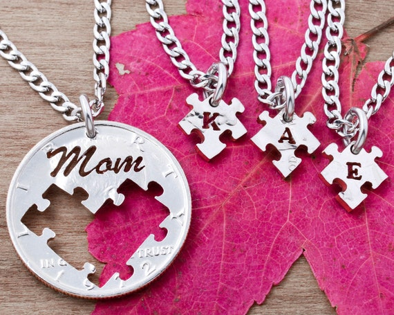 4 Piece Mom and Kids Puzzle Necklaces, for Mothers and Children, Custom Cut Initial Jewelry, Hand Cut Coin