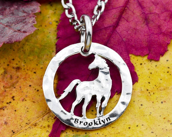 Silver Hammered Horse Necklace with Custom Engraved Name, Real Silver Coins, CowGirl and Horse Jewelry